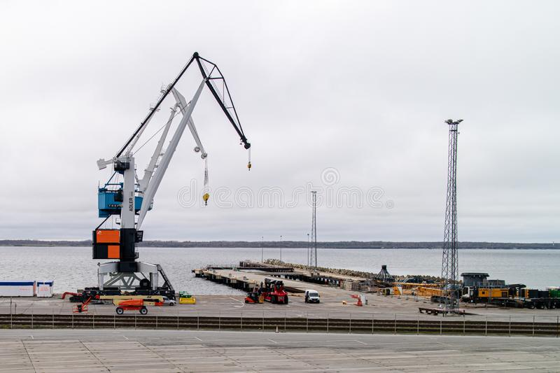 Paldiski Estonia 11.05.2018 view to sea harbour crane.  stock image