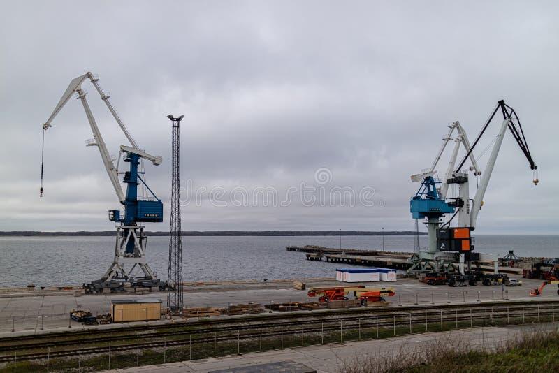 Paldiski Estonia 11.05.2018 view to sea harbour crane.  stock photos