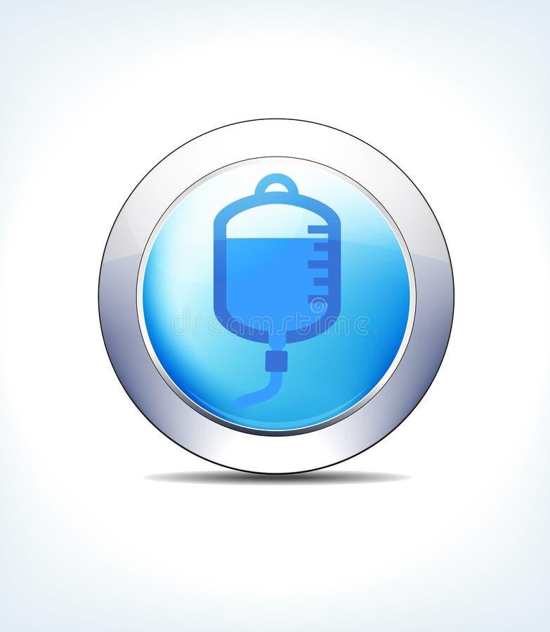 Pale Blue Button Blood Drip, canule, fluides intraveineux ou IV, illustration libre de droits
