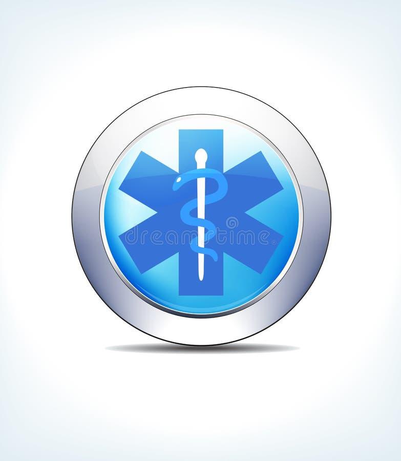 Pale Blue Button Medical Sign, caduceo, atención sanitaria y Pharmaceut stock de ilustración