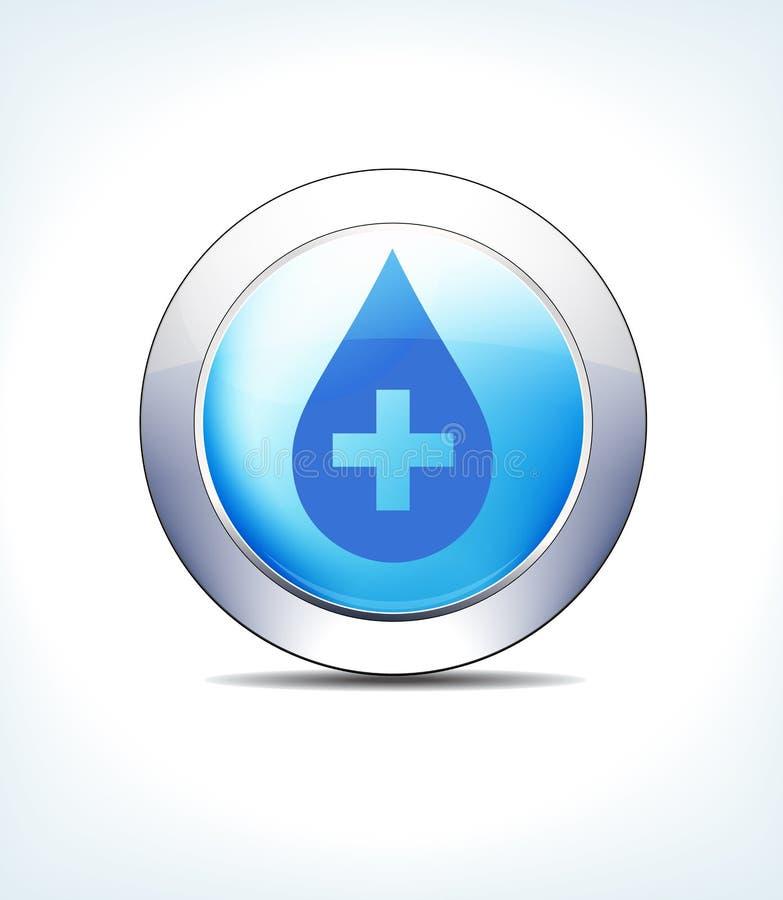 Pale Blue Button Medicine avec la croix, les soins de santé et le Pharm médicaux illustration stock