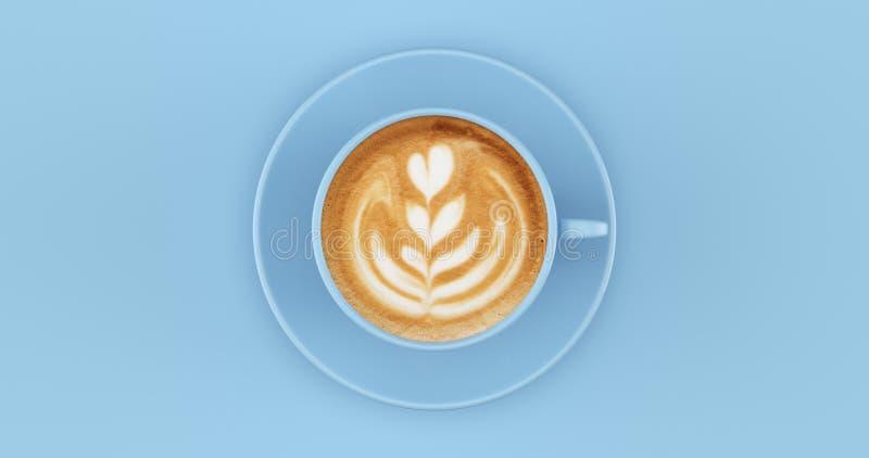 Pale Blue Coffee Cup Cappuccino con il turbinio fotografia stock libera da diritti