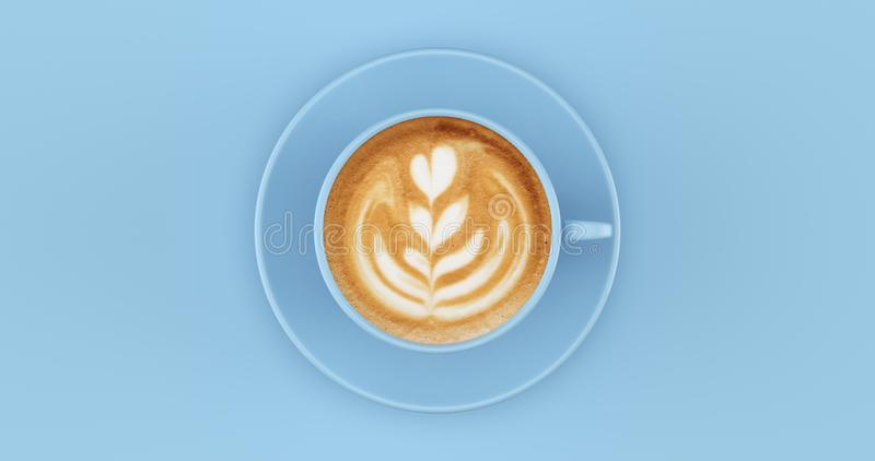 Pale Blue Coffee Cup Cappuccino with swirl. Pale Blue Coffee Cup Cappuccino 3d illustration royalty free stock photography