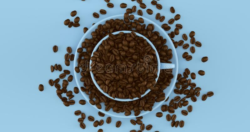 Pale Blue Coffee Cup an Saucer Full Of Coffee Beans. 3d illustration stock photography