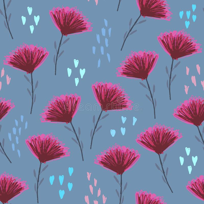 Pale blue floral pattern with cute pink flowers vector illustration
