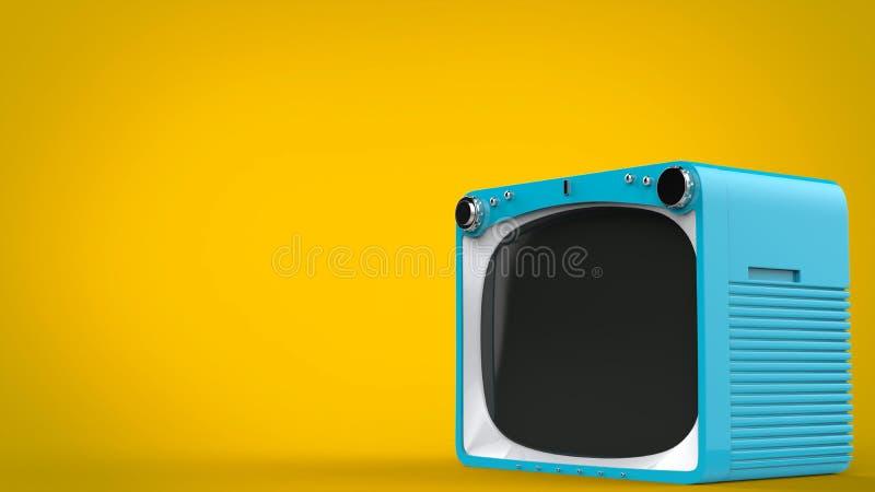 Pale blue retro style TV set. On yellow background vector illustration