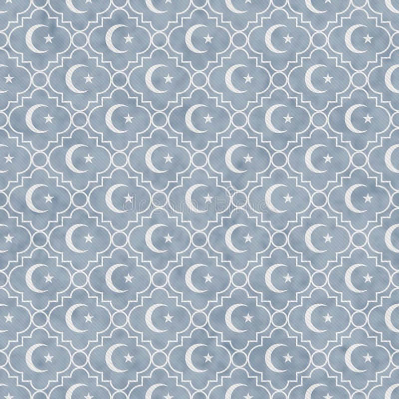 Pale Blue and White Star and Crescent Symbol Tile Pattern Repeat stock images