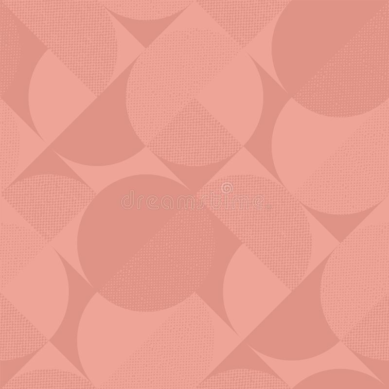 Pale color minimal modern seamless pattern. With texture. Geometric square and circles repeatable vector motif for background, wrap, fabric, textile, wrap stock illustration