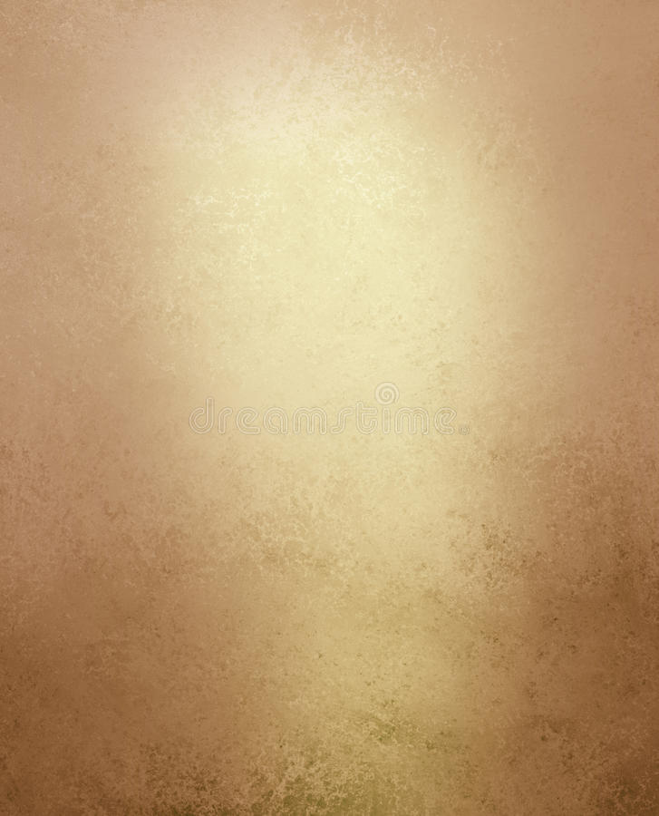 Pale gold and brown background with vintage grunge distressed texture. Textured shiny pale gold or yellow paper background with light brown vintage grunge stains stock images