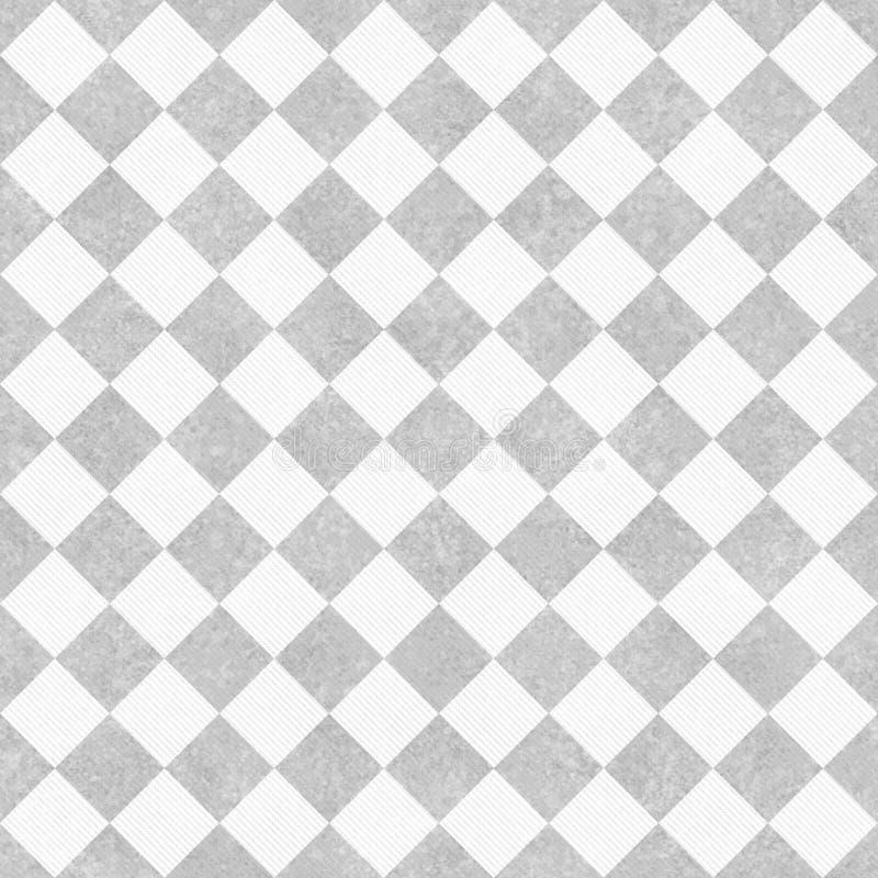 Pale Gray e verificadores diagonais brancos na tela Textured Backgro fotografia de stock royalty free