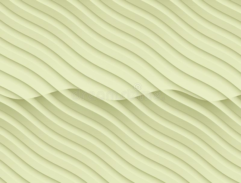 Pale ivory yellow flowing curves abstract wallpaper background illustration. Computer generated abstract fractal background wallpaper illustration in soft shades stock illustration
