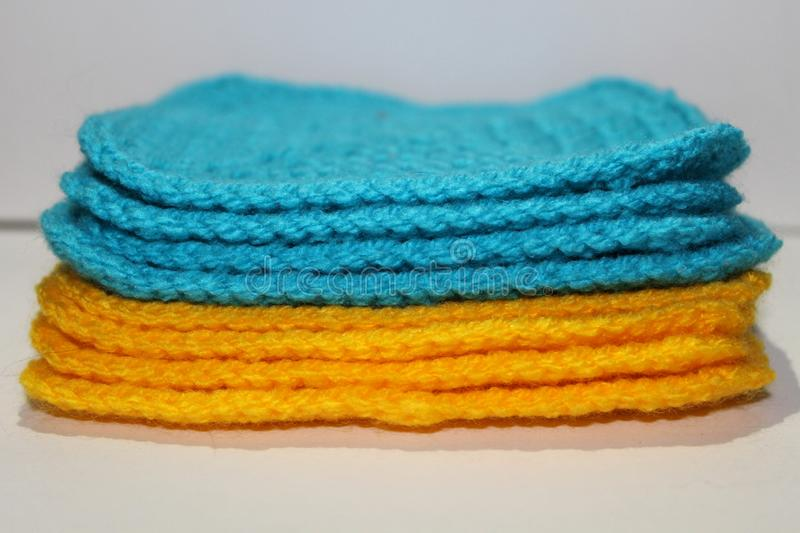 Ukrainian flag: a pale of bright knitted elements royalty free stock images