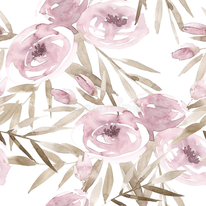 Pale pink roses and peonies with gray leaves on white background. Seamless pattern. Romantic garden flowers illustration royalty free illustration