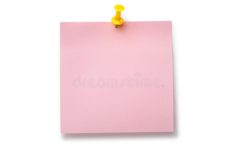 Pale pink sticker on yellow thumbtack