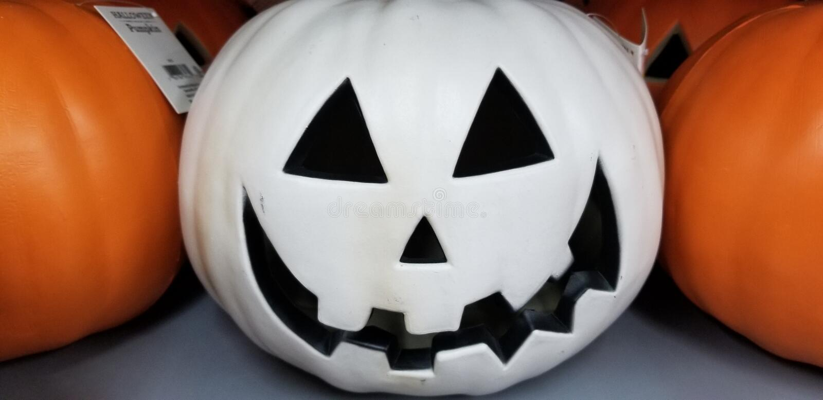 Pale pumpkin. Pale white jackolantern stock image