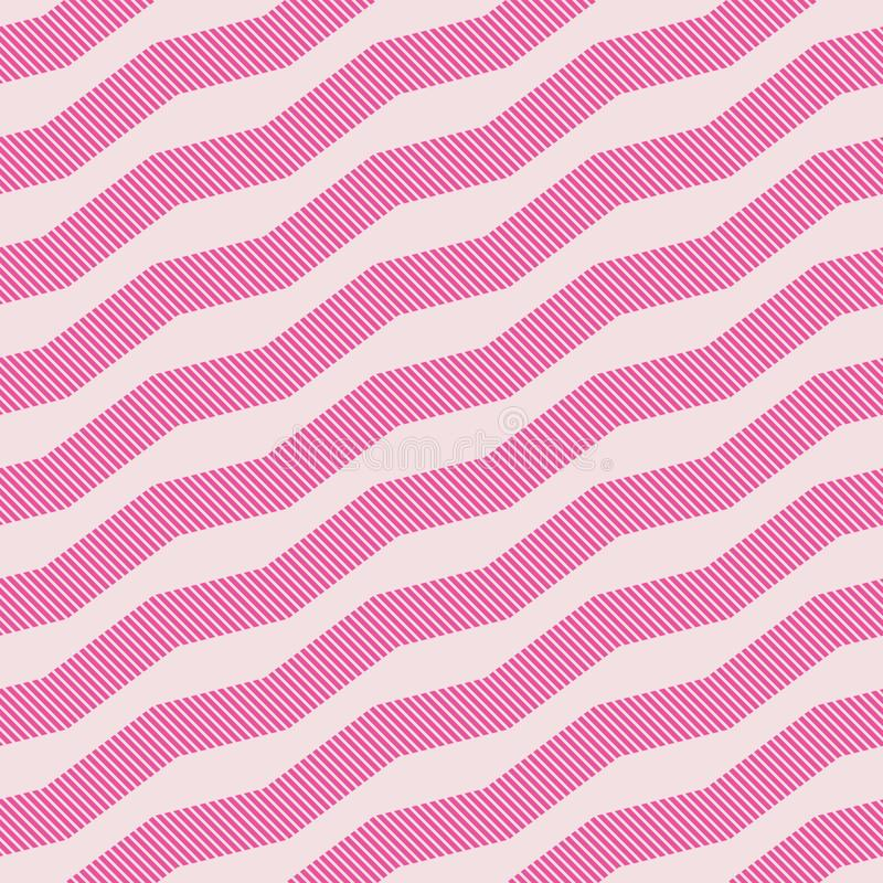 Pale simple geometric zigzag seamless pattern textured with stripes stock illustration