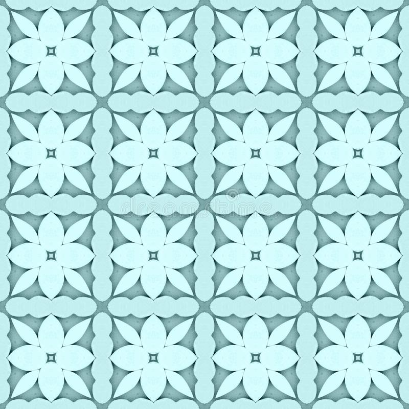 Pale teal flower mosaic detailed seamless textured pattern background. Pale teal flower mosaic detailed seamless and repeat textured pattern background stock illustration