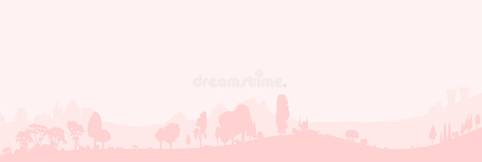 Pale Wooded Foreground. Silhouette of a wooded foreground set on a hill background with some buildings vector illustration