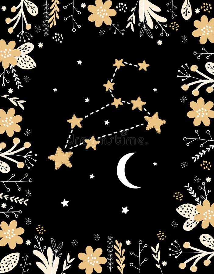 Pale Yellow Leo Vetora Sign simples engraçado Quadro floral, lua branca e estrelas ilustração royalty free