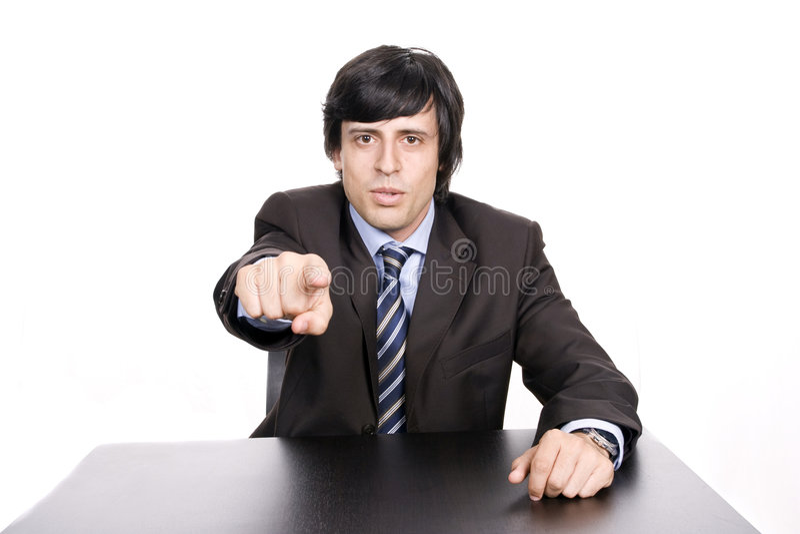 palec biznesmen gestykuluje jego garnitur obrazy stock