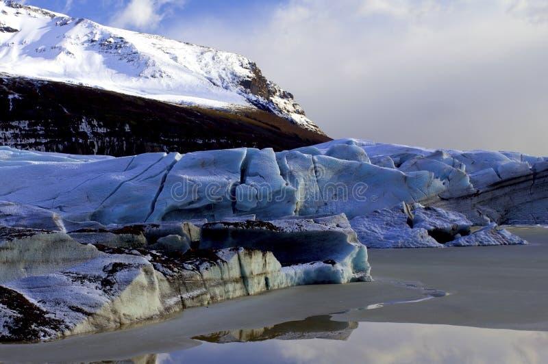 Palec u nogi Svinafellsjokull lodowiec i Svinafellsheidi góra, Skaftafell, Iceland. fotografia stock