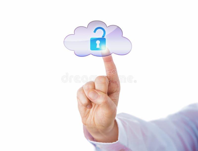 Palec Wskazujący Otwiera Wirtualnego kędziorek Przez chmury fotografia royalty free