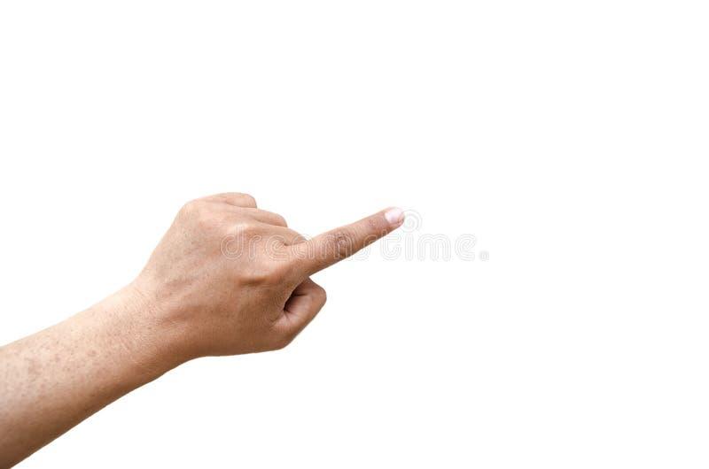 Palec wskazujący wskazuje pochylonego kreskowego gest na lewej ręce odizolowywającej na białym tle obraz royalty free