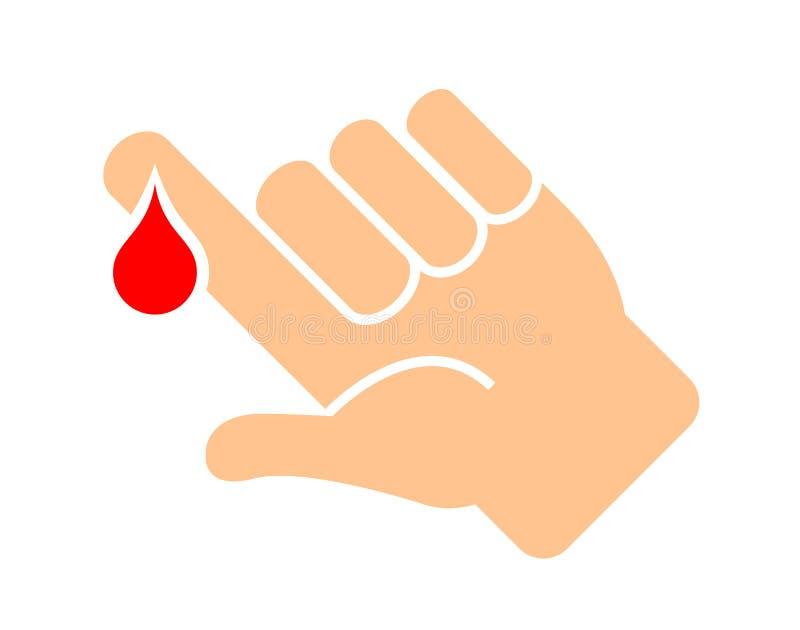 Palec z krwi kropli wektoru ikoną ilustracji