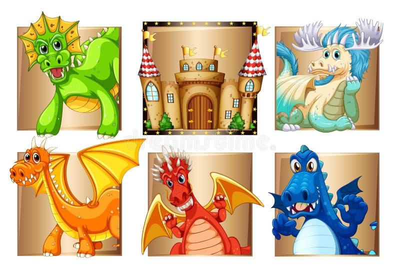 Paleis en vele draken royalty-vrije illustratie