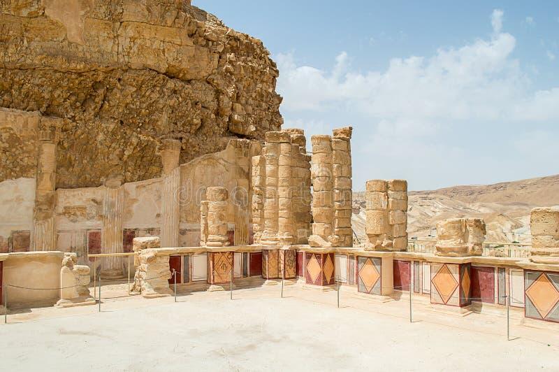 Paleis op Masada stock afbeelding