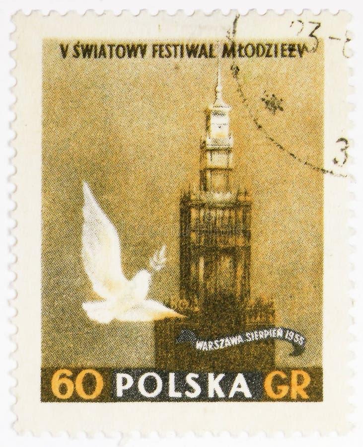 Paleis van Cultuur en vredesduif, Internationaal de Jeugdfestival serie, circa 1955 royalty-vrije stock afbeeldingen