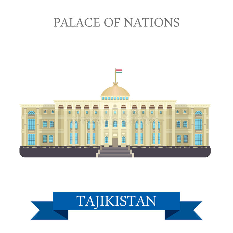 Paleis van de vector vlakke aantrekkelijkheid van Natiesdushanbe Tadzjikistan vector illustratie