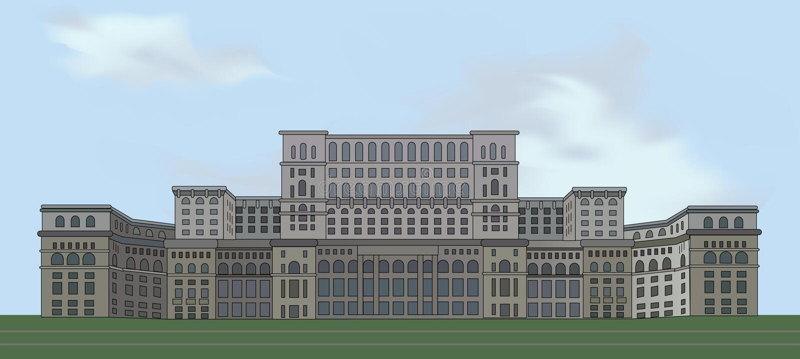 Paleis van het Parlement, Boekarest Roemenië stock illustratie