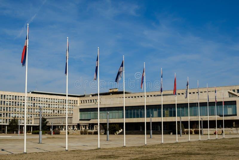 Paleis van Servië in Belgrado, Servië stock afbeeldingen