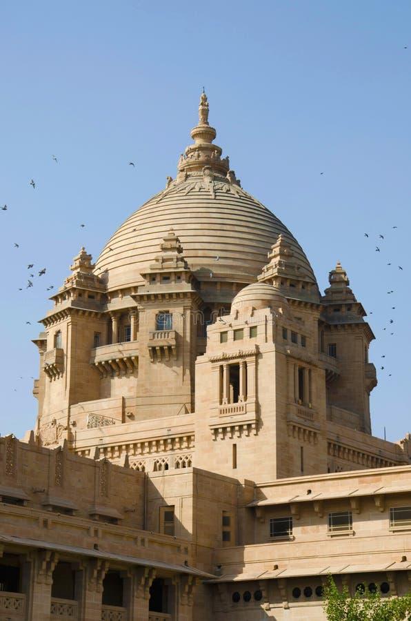 Paleis van Umaidbhawan, één van de grootste privé woonplaatsen van de wereld, Jodhpur, Rajasthan, India royalty-vrije stock afbeeldingen