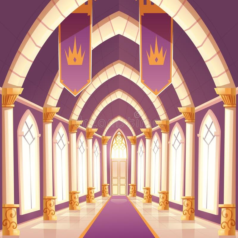 Paleiszaal, leeg de gangbinnenland van de kasteelkolom royalty-vrije illustratie