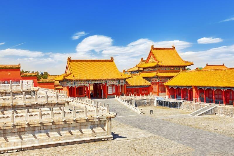 Paleizen, pagoden binnen het grondgebied van de Verboden Stad royalty-vrije stock afbeelding