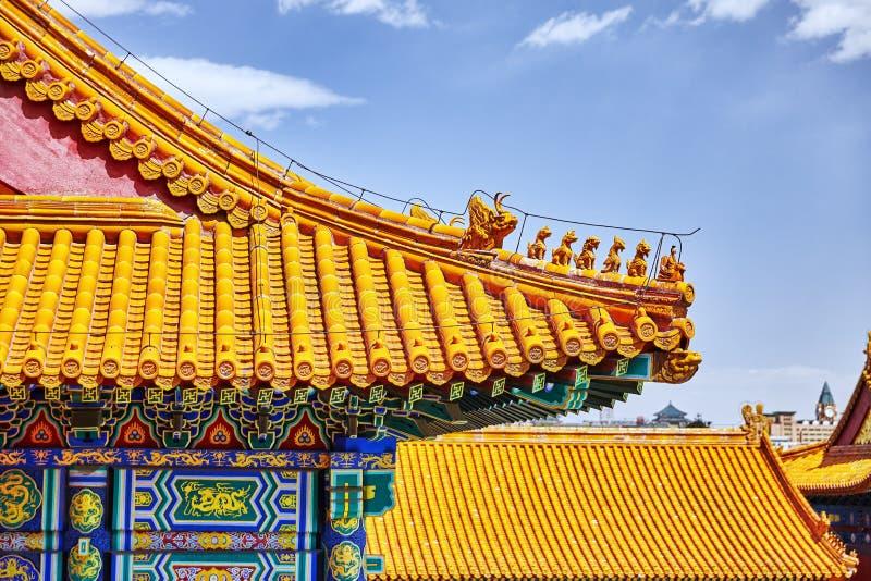 Paleizen, pagoden binnen het grondgebied van de Verboden Stadsmuse stock afbeelding