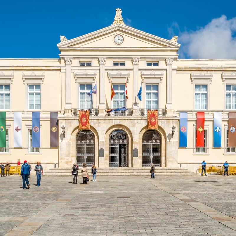 View of Palencia city hall decorated during Holy Week royalty free stock images
