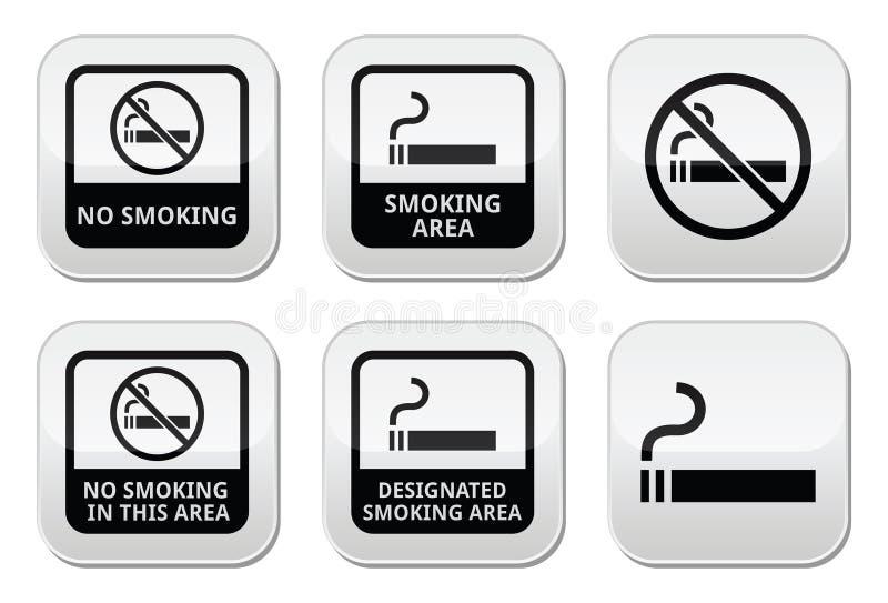 Palenie zabronione, dymienie terenu guziki ustawiający ilustracja wektor