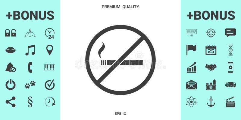 Palenie zabronione, dymienie zakazu ikona Papieros - zabraniać znaka royalty ilustracja