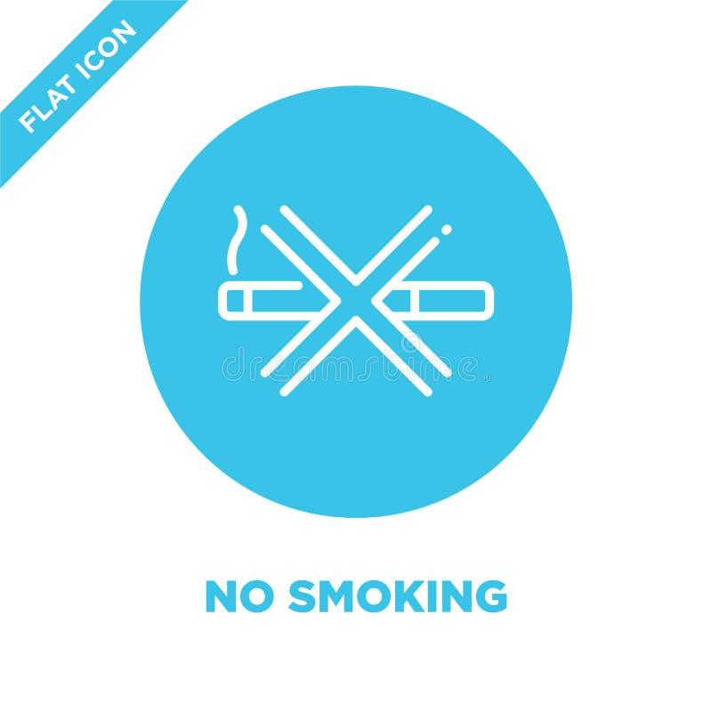 Palenie zabronione ikona wektor Cienieje kreskową palenie zabronione kontur ikony wektoru ilustrację palenie zabronione symbol dl royalty ilustracja