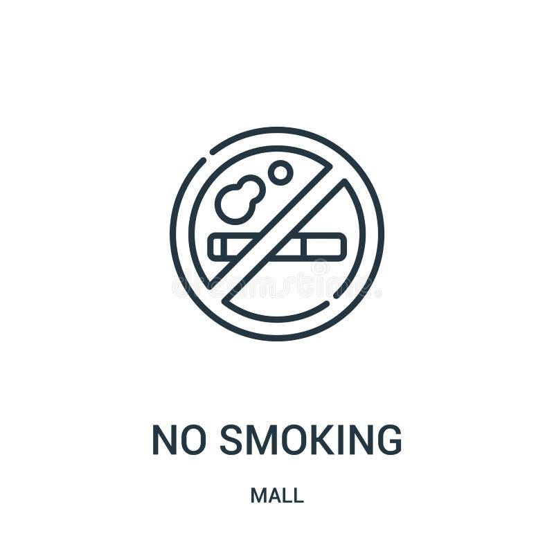 palenie zabronione ikona wektor od centrum handlowe kolekcji Cienieje kreskową palenie zabronione kontur ikony wektoru ilustrację ilustracja wektor