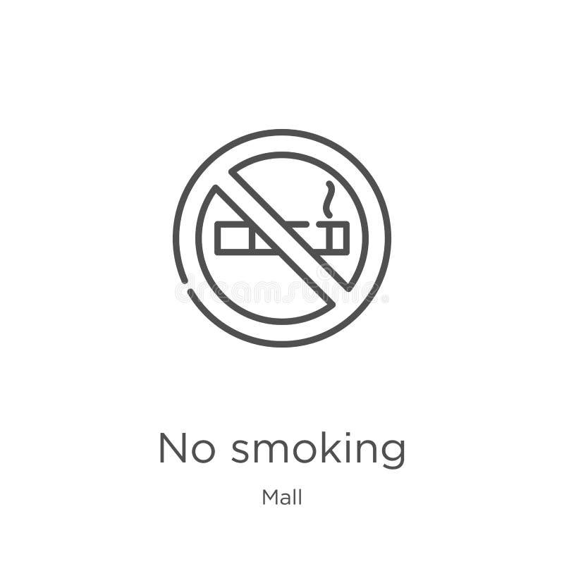 palenie zabronione ikona wektor od centrum handlowe kolekcji Cienieje kreskow? palenie zabronione kontur ikony wektoru ilustracj? ilustracja wektor