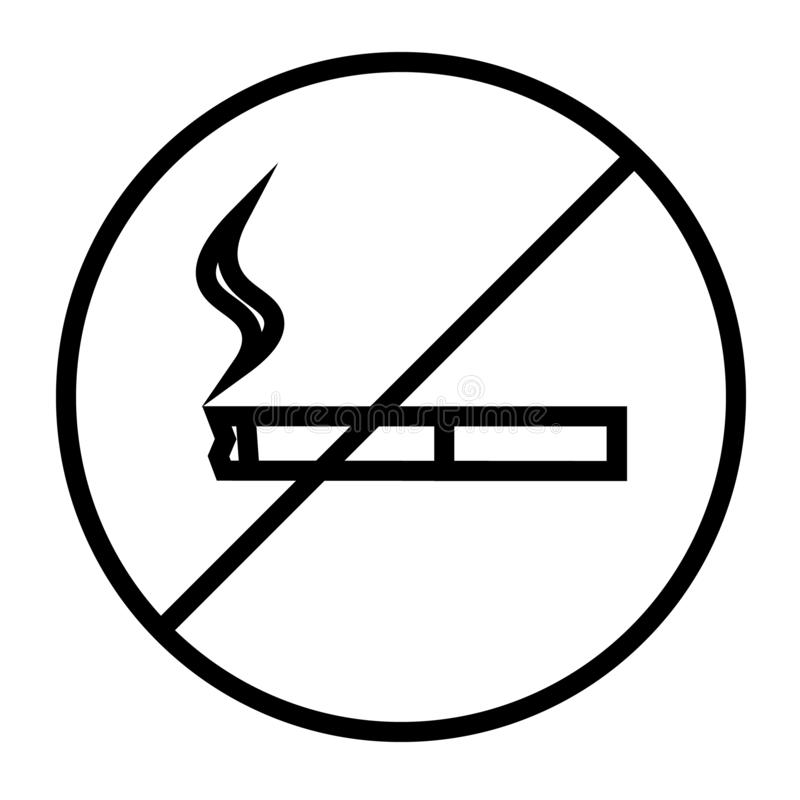 Palenie zabronione ikona wektor royalty ilustracja