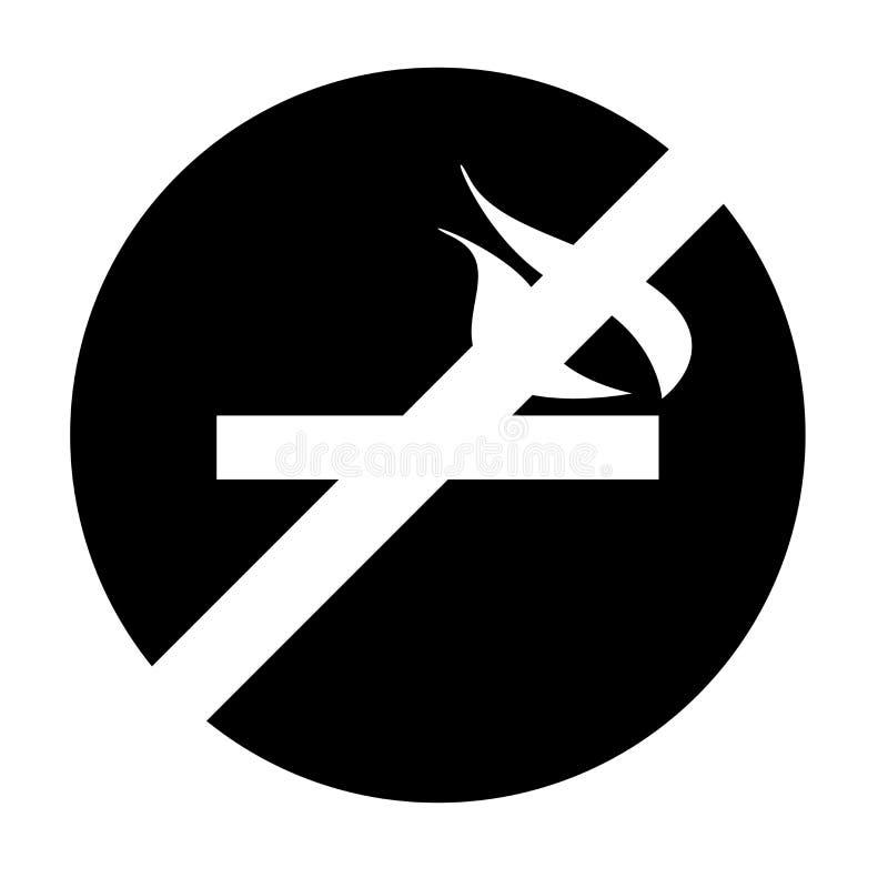 Palenie zabronione ikona wektoru znak i symbol odizolowywający na białym tle, Palenie zabronione loga pojęcie royalty ilustracja