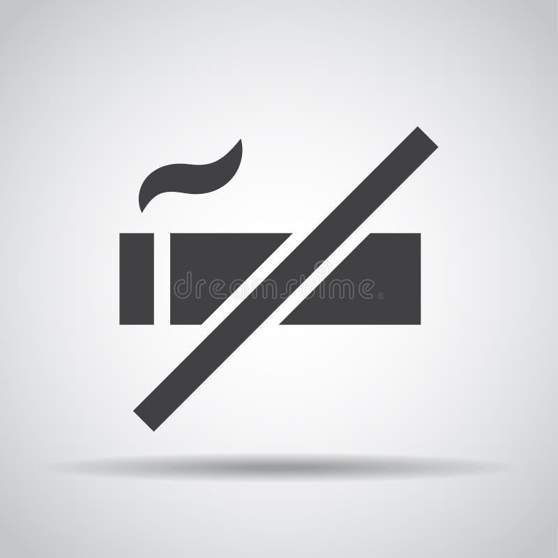 Palenie zabronione ikona z cieniem na szarym tle również zwrócić corel ilustracji wektora royalty ilustracja