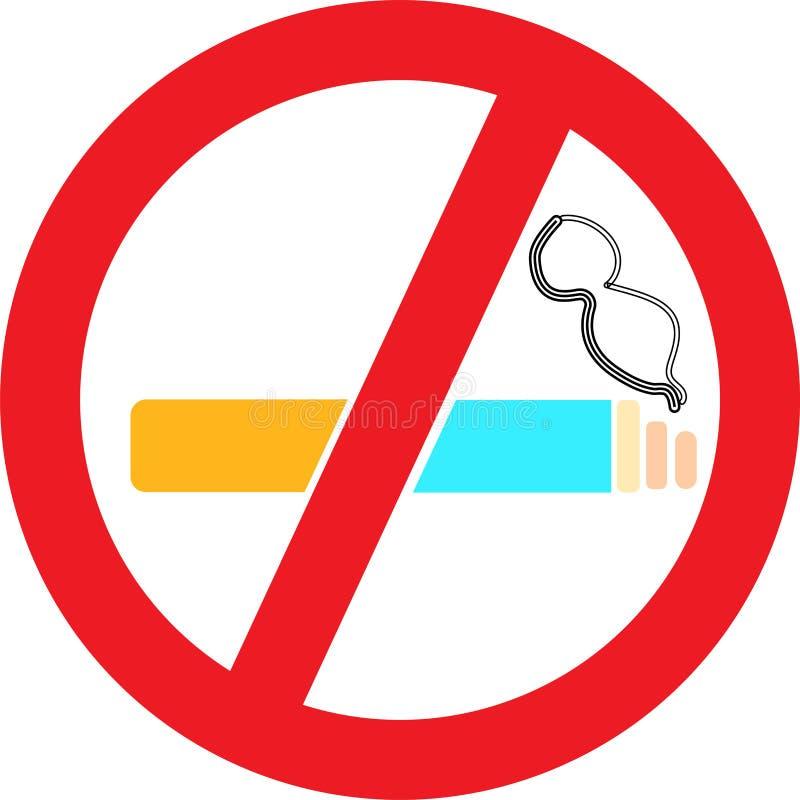 Palenie Zabronione Szyldowa symbol ikona Czerwona prohibicja z papierosem i dymem na bia?ym tle r?wnie? zwr?ci? corel ilustracji  ilustracji