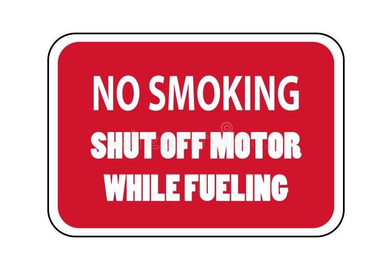 Palenie zabronione zamykający daleko silnik podczas gdy tankujący ilustracja wektor