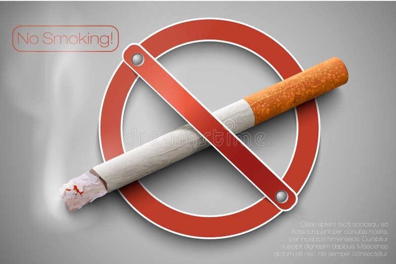 Palenie zabronione znak z realistycznym papierosem ilustracji